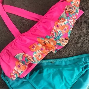 Strapless Pink & Blue Floral Bikini